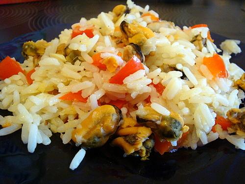 Мидии с рисом и имбирём
